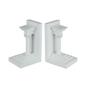 Paar Museum White Roman Composite Pillar Decoratieve Boekensteunen