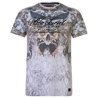 Firetrap Mens Blackseal Moth skalle T Shirt Crew Neck T-Shirt Tee Top