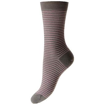 Pantherella Farrah Stripe Merino Wool Socks - Mole/Dusky Pink