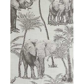 Safari Elefante Carta da parati Charcoal Arthouse 296700