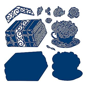 Tattered Lace Floral Tea Cup with Books Die Set
