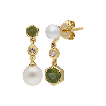 Modern Pearl, Peridot & Topaz Mismatched Drop Earrings in Gold Plated Sterling Silver  270E030106925