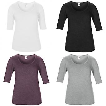 Anvil Womens/Ladies Tri-Blend Deep Scoop Neck 1/2 Long Sleeve Top