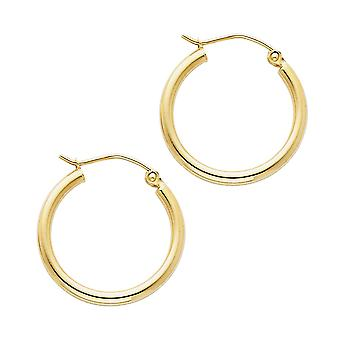 14k Yellow Gold 2mm Round Tube Polished Hoop 20mm Earrings Jewelry Gifts for Women - 1.1 Grams