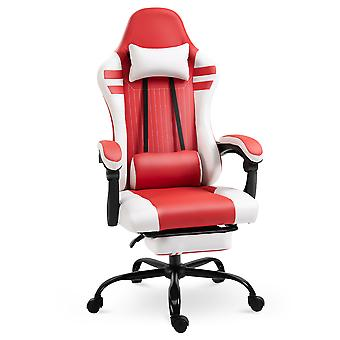 Vinsetto Luxe PU Leather Gaming Chair w/ Footrest Wheels Ergonomic Adjustable Height Padding Removable Pillows Swivel 5 Wheels Reclining Back Office Racing Room Work Red White