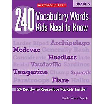 240 Vocabulary Words Kids Need to Know Grade 5  24 ReadyToReproduce Packets Inside by Linda Beech
