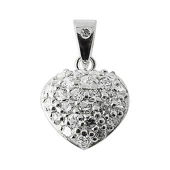 925 Sterling Silver Jeweled Heart Pendant