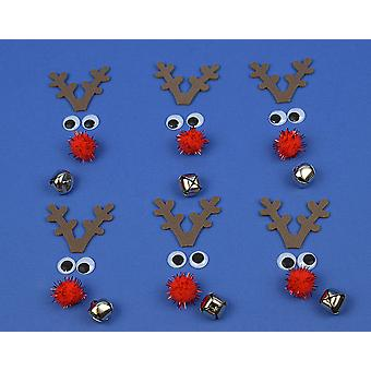 Kit to Make 6 Small Luxury Rudolph Reindeer Faces