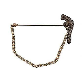 Dolce & Gabbana Lapel Pin Gold Brass Copper Revolver Gun Brooch -- SMY5820912