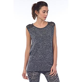 Jerf  Womens Cape Grey Melange Seamless Active Top with Mesh