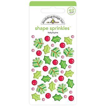 Doodlebug Design Holly & Pine Shape Sprinkles (42pcs) (6444)