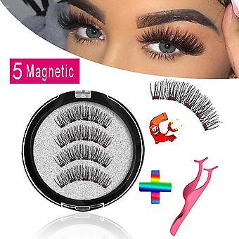 Lange genanvendelige, falske øjenvipper med 5 magneter