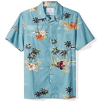 28 Palms Men's Standard-Fit 100% Cotton Tropical Hawaiian Shirt, Dark Aqua Sc...