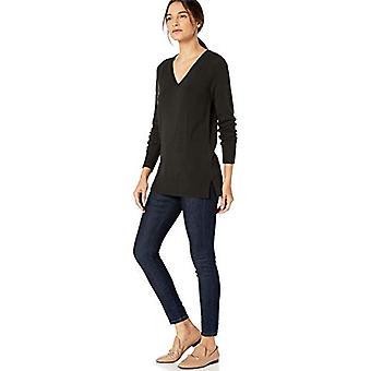 Lark & Ro Women's Long Sleeve Tunic V-Neck Sweater, Black, Medium