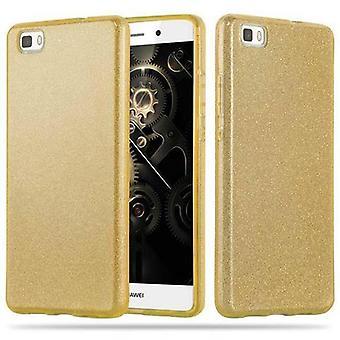 Cadorabo Housse pour Huawei P8 LITE 2015 - Coque en ORFÈQUE OR - TPU Silicone et Hardcase Gaine de téléphone mobile à la conception scintillante - Hard Case TPU Silicone Housse de protection