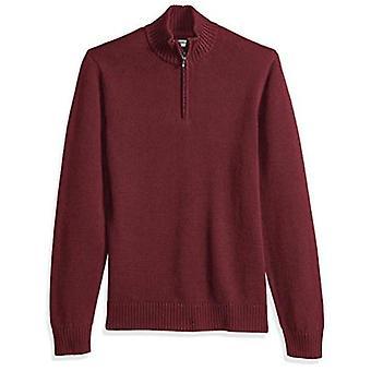 Brand - Goodthreads Men's Soft Cotton Quarter Zip Sweater, Solid Burgu...