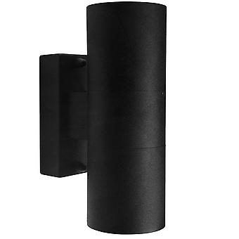 Outdoor Cylinder Up / Down Wall 2 Light Black IP54, GU10