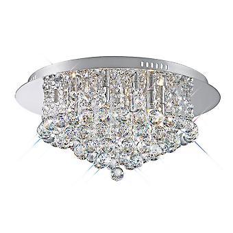 Inspireret Deco - Dahlia - Flush Loft, 450mm Runde, 6 Light G9 Poleret Chrome, Crystal