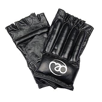 Fitness Mad Leather Pro Fingerless Boxing Bag Mitts Black Sizes Small - Extra