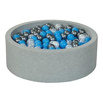 Poço de bola 90 cm com 450 bolas mãe de pérola, prata, azul claro