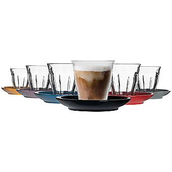 Duralex 12 Piece Picardie Glass Coffee Cup et Céramique Saucer Set - Multi - 220ml