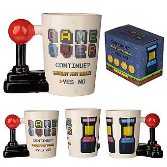 Ceramic Gaming Joystick Shaped Handle Mug with Arcade Decal X 1 Pack