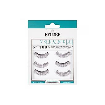 Eylure Volume No 100 Reusable Classic Style Eyelashes Pack Of 3 (adhesive Included)