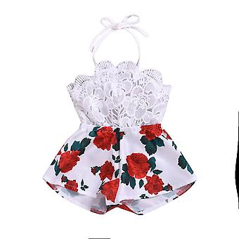 Pudcoco Summer Newborn Baby Clothes- Sleeveless Lace Flower Print Strap Romper