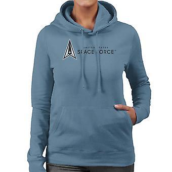 U.S. Space Force Dark Text Alongside Logo Women's Hooded Sweatshirt