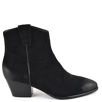 Ash Footwear Houston Suede Brushed Ankle Boots Black