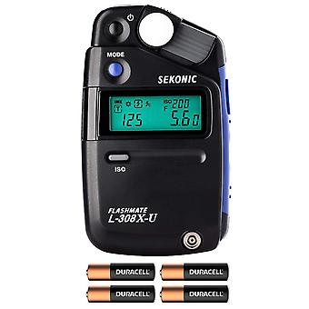 Sekonic l-308x-u flashmate light meter w/ 4 aa batteries and fibertique cloth