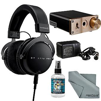 Beyerdynamic dt 1770 pro auriculares de 250 ohmios con amplificador + limpiador + paquete de tela fibertique