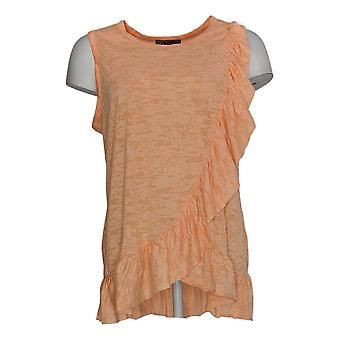 DG2 by Diane Gilman Women's Top Orange Sleeveless Round Neck 713-394