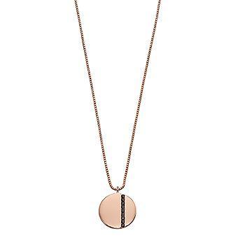 Fiorelli Plata Mujer 925 Plata Esterlina Negro Circonio Cúbico &Rose Gold Disc Drop Collar de Longitud 41cm + 5cm