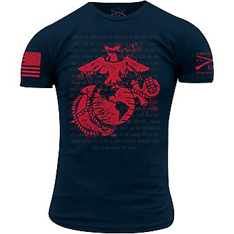 Grunt Style USMC - T-Shirt Con credo fuciliere - Navy