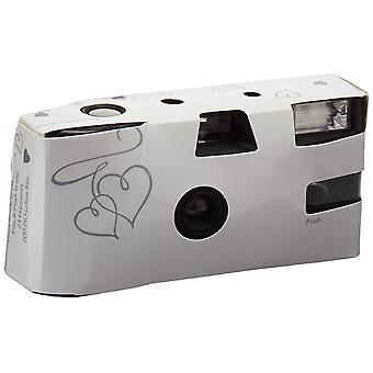 Weddingstar jednorazowy aparat z lampą błyskową biały i srebrny zaczarowany pakiet serc 10