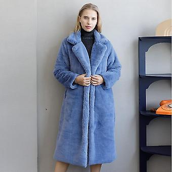 Winter Women Haute Qualité Faux Rabbit Fur Coat Luxe Long Loose Lapel Thick
