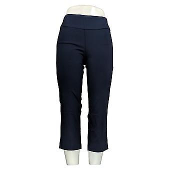 Martha Stewart Women's Pants Stretch Crop W/ Back Slits Blue A309318