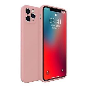 MaxGear iPhone 11 Pro Max Square Silicone Case - Soft Matte Case Liquid Cover Light Pink