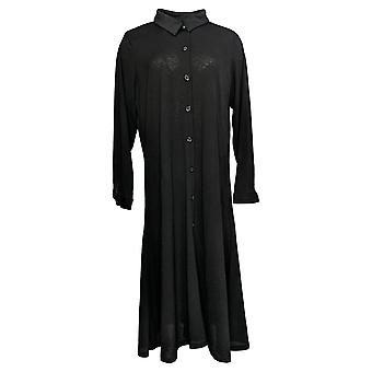 Attitudes By Renee Women's Sweater Petite Button-Up Duster Black A382809