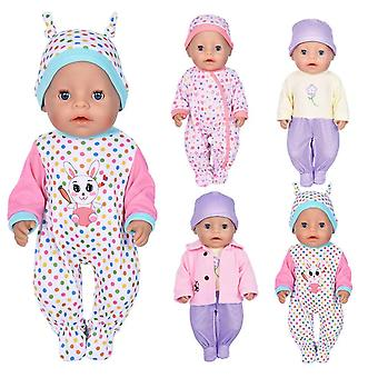 Ebuddy 7pc doll clothes include bodysuit hat and a coat for 43cm new born baby dolls/ 15 inch baby d