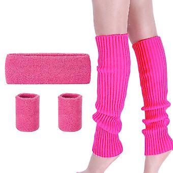Lades Beinwärmer Set - 80er Jahre Frauen Accessoires Set ausgefallene Kleid rosa laufen stricken Neon Stirnband Armband