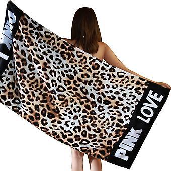 Serviette de plage imprimée en coton doux adulte, motif Coffee Leopard, 145 * 70cm