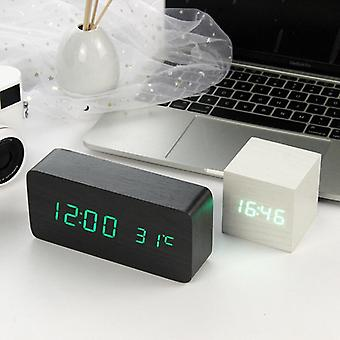 Led Wooden Alarm Clock Watch Table Voice Control Digital Wood Electronic