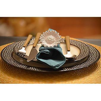 Anéis de guardanapo branco do girassol - Decoração de Casa