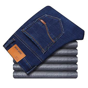 Winter Thermal Warm Flannel Stretch Jeans, Mens Fleece Pants, Straight Flocking