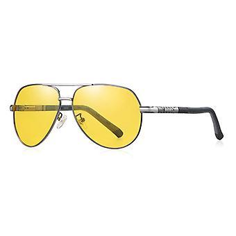 Barcur Vintage Shades Okulary przeciwsłoneczne - Okulary pilotowe ze stopu stali nierdzewnej z UV400 i filtrem polaryzacyjnym dla mężczyzn - żółty