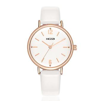 KEZZI 1685 Simple Leather Strap Women Quartz Watch Fashion Ladies Wrist Watch