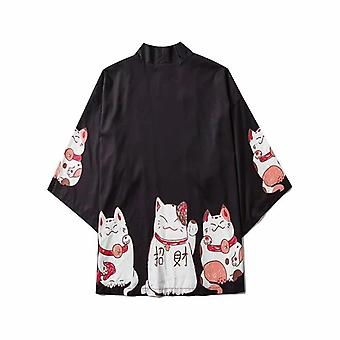 Tøj Sommer Streetwear Cat Print Kimono Cardigan Mandarin Robe Mænd Unisex