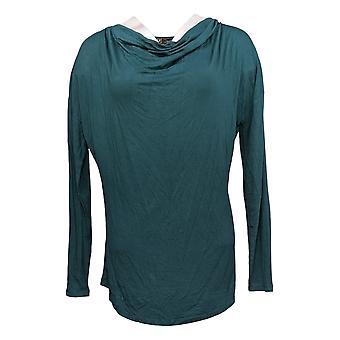DG2 by Diane Gilman Women's Top Cowl-Neck Long-Sleeve Green 716-482